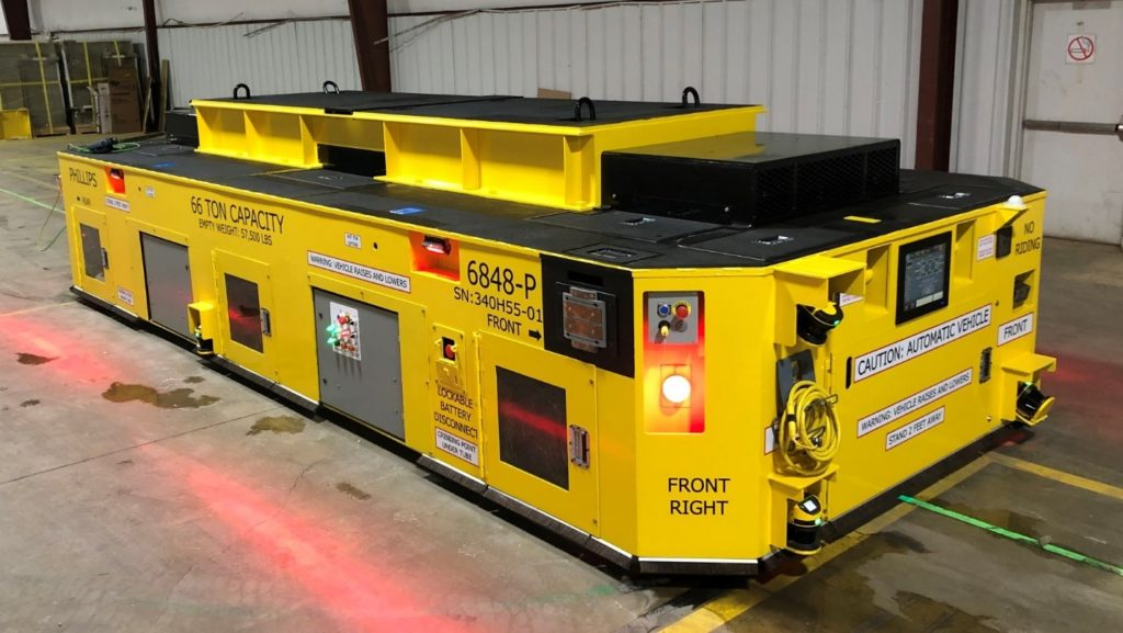 This 66-ton AGV was designed to pick up stamping dies from any of several locations and deliver them to multiple drop off areas